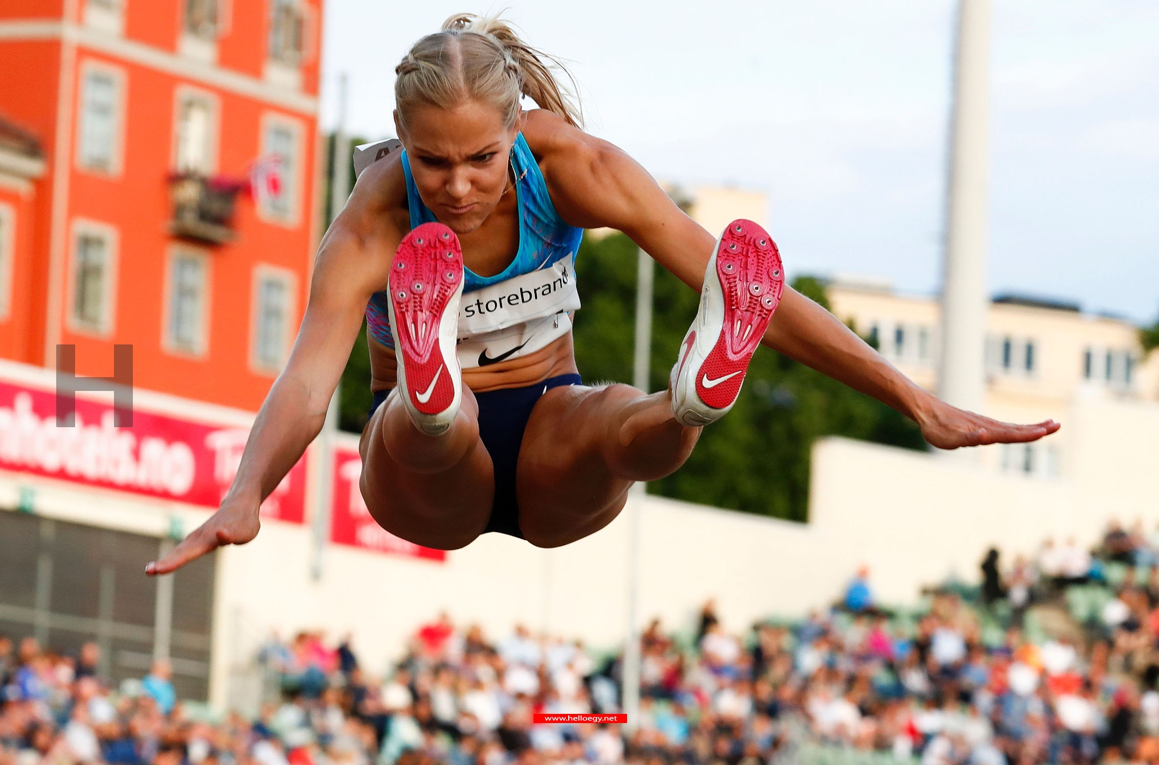 Second placed Darya Klishina (ANA) competes in the women's long jump at the Golden League Bislett Games at Bislett stadium in Olso on June 15,2017.  AFP